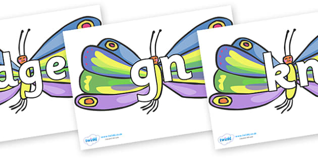 Silent Letters on Beautiful Butterflies to Support Teaching on The Very Hungry Caterpillar - Silent Letters, silent letter, letter blend, consonant, consonants, digraph, trigraph, A-Z letters, literacy, alphabet, letters, alternative sounds