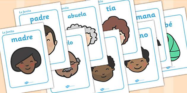 My Family KS1 Family Word Cards Spanish - Spanish, Family, Word