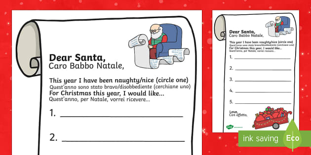 Letter to Santa Present list Italian Translation English/Italian - Letter to Santa Present List Writing Template - letter, santa, present, list, father christmas, sant