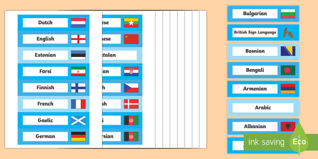 Languages Tray Labels - EAL Resources, languages, drawers, resources, esl, second language, bilingual,