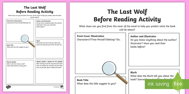 Before Reading Activity - CfE, novel study, Michael Morpurgo, The Last Wolf, reading activity, prior knowledge, comprehension,