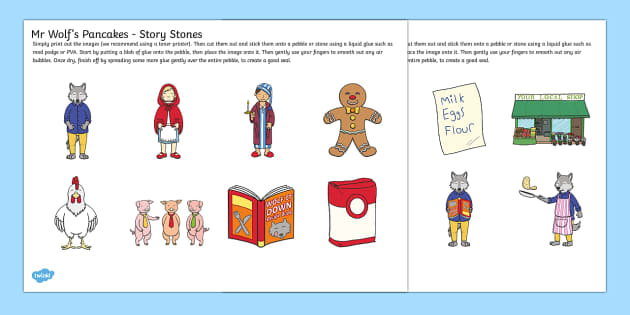 Story Stone Cut Outs to Support Teaching on Mr Wolfs Pancakes - story stone, cut outs, mr wolfs pancakes