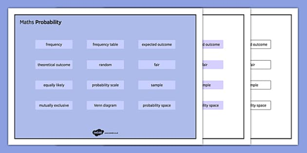 KS3 Maths Word Mat Probability - KS3, KS4, GCSE, Maths, keywords, vocabulary, revision, probability