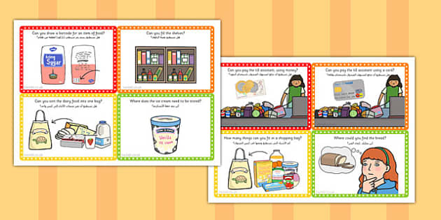 Supermarket Role Play Challenge Cards Arabic Translation - arabic