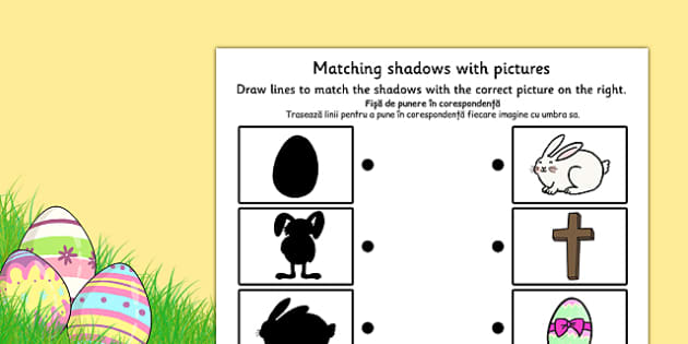 Easter Themed Shadow Matching Worksheet Romanian Translation - romanian, easter, match, shadow