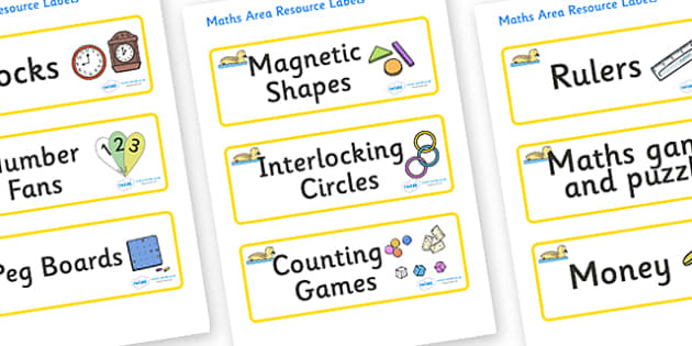 Gosling Themed Editable Maths Area Resource Labels - Themed maths resource labels, maths area resources, Label template, Resource Label, Name Labels, Editable Labels, Drawer Labels, KS1 Labels, Foundation Labels, Foundation Stage Labels, Teaching Lab