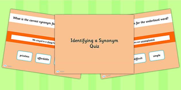 Identifying a Synonym SPaG Grammar PowerPoint Quiz - SPaG quiz