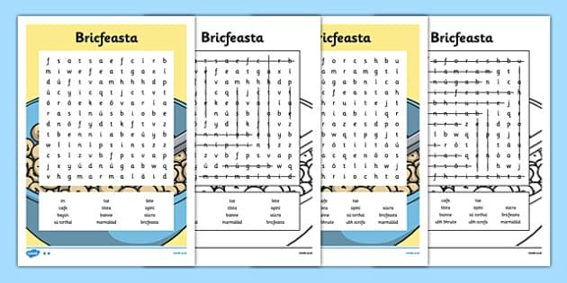 Irish Gaeilge Dinnéar Word search - irish, gaeilge, word search, dinnear, bia
