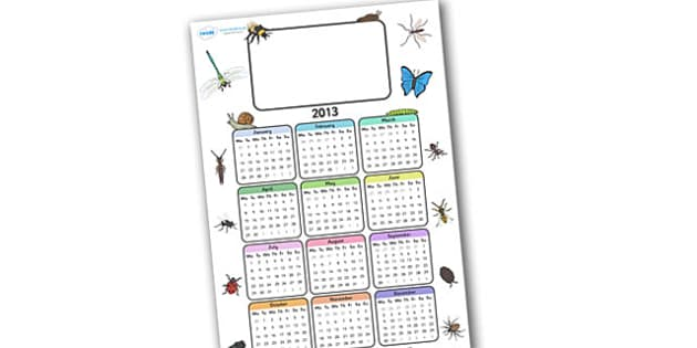 Editable 2013 Calendar Minibeast - calendar, editable calendar, months of the year, display calendar, minibeasts, minibeast, minibeast calendar, minibeast themed calendar, insects, insect calendar, display, display poster, poster, the year, 2013, 201
