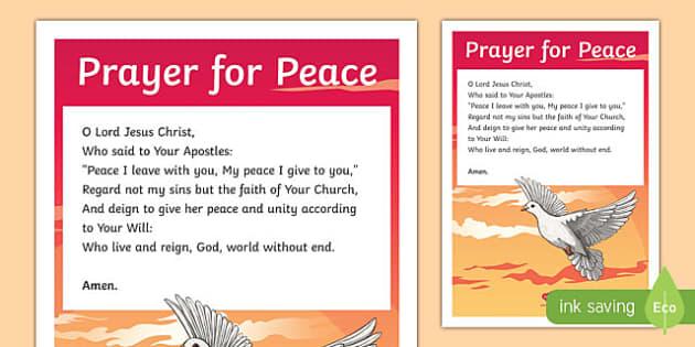Prayer for Peace Display Poster-Irish