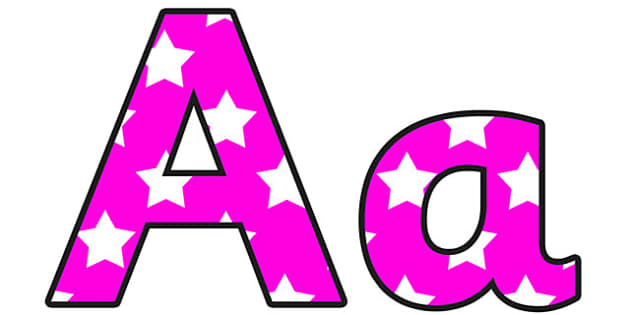 Pink with White Stars Display Lettering - pink, white, stars, display, lettering, lettering for display, coloured letters, cut out letters, decoration