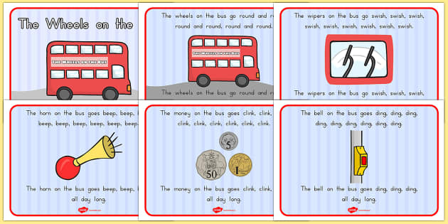 The Wheels on the Bus Story Sequencing A4 - rhyme, bus, poem, wheels onthe bus