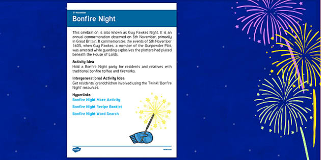 Elderly Care Planning November 2016 Bonfire Night - Elderly Care, Calendar Planning, Care Homes, Activity Co-ordinators, Support, November 2016