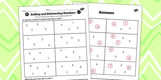 Number Facts to 20 Find Pairs to 7 Worksheet - number, facts, 7
