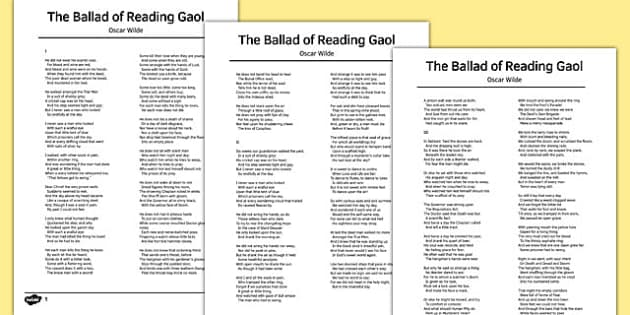 The Ballad of Reading Gaol by Oscar Wilde Poem - poem, poetry, gaol