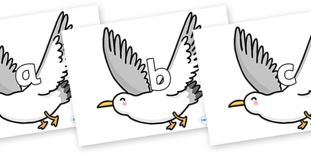 Phase 2 Phonemes on Seagulls - Phonemes, phoneme, Phase 2, Phase two, Foundation, Literacy, Letters and Sounds, DfES, display