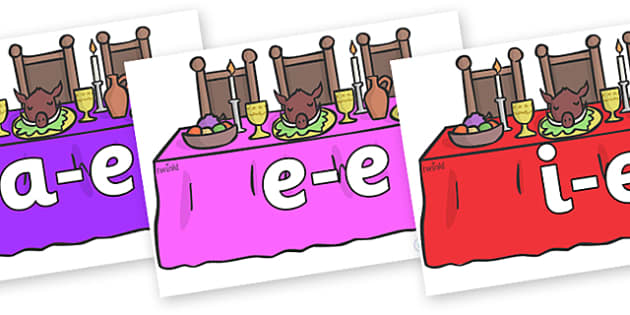Modifying E Letters on Dining Tables - Modifying E, letters, modify, Phase 5, Phase five, alternative spellings for phonemes, DfES letters and Sounds