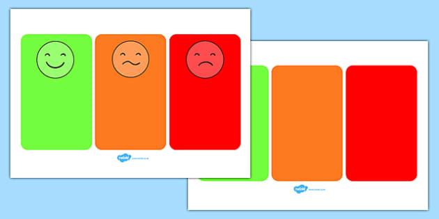 Behaviour Management Traffic Light Face Cards - Communication cards, traffic lights