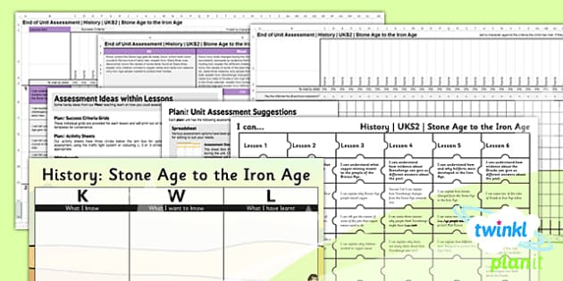 PlanIt - History UKS2 - Stone Age to the Iron Age Unit Assessment Pack - assessment, record, data, baseline, nation, pack, objectives, criteria, success, national, curriculum, change, epoch, civilisation