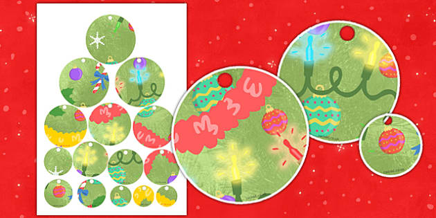Christmas Tree Decorations Threading Activity - christmas, decoration