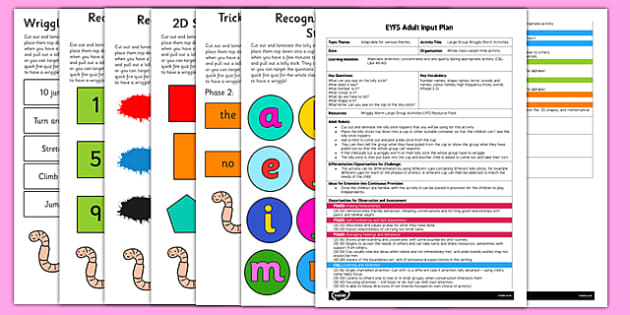 Large Group Wriggly Worm Activities EYFS Adult Input Plan and Resource Pack - EYFS planning, early years activities, shape space and measure