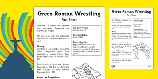 Rio 2016 Olympics Greco Roman Wrestling Fact Sheet - rio 2016, rio olympics, 2016 olympics, greco-roman, wrestling, fact sheet