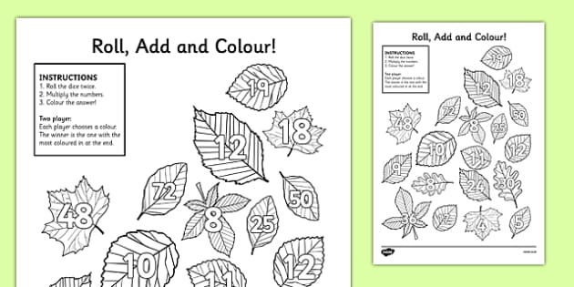 Leaf Roll and Colour Dice Multiplication Activity - leaf, roll and colour, dice, multiplication, multiplication activity, games, dice games, dice activities