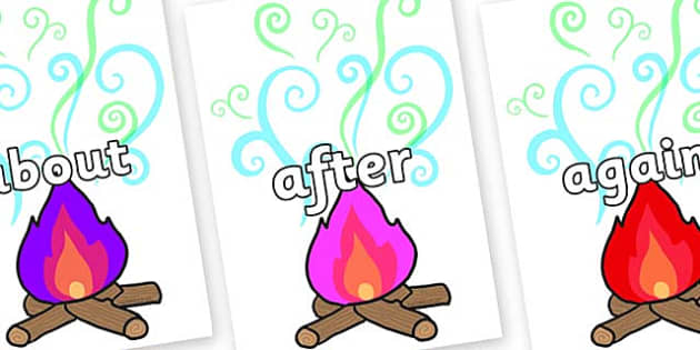 KS1 Keywords on Magic Fire - KS1, CLL, Communication language and literacy, Display, Key words, high frequency words, foundation stage literacy, DfES Letters and Sounds, Letters and Sounds, spelling