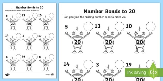 Number Bonds to 20 on Robots Worksheet - number bonds, 20, robots, worksheet