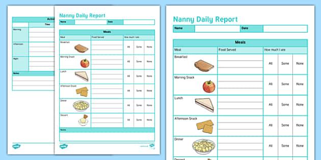 Australian Nanny Daily Report Editable Proforma-Australia
