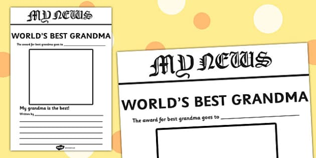 World's Best Grandma Newspaper Writing Template - newspaper, template