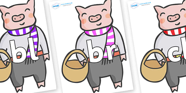 Initial Letter Blends on Little Piggy - Initial Letters, initial letter, letter blend, letter blends, consonant, consonants, digraph, trigraph, literacy, alphabet, letters, foundation stage literacy