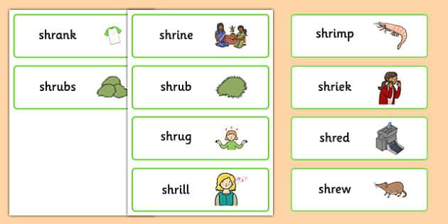 SHR Word Cards - speech sounds, phonology, articulation, speech therapy, cluster reduction