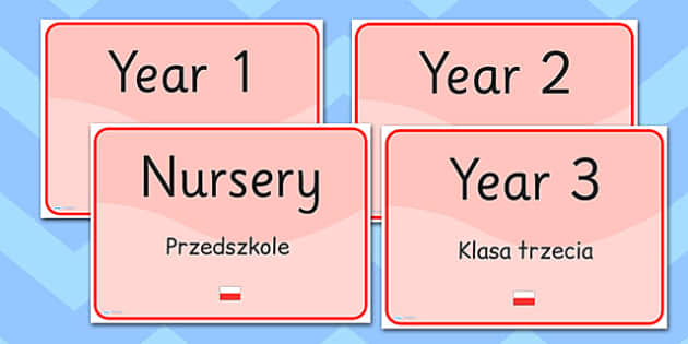 School Year Group Signs EAL Polish Version - languages, EAL, sign