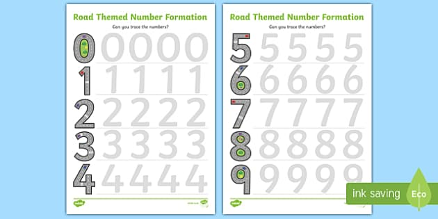 Road Themed Number Formation Activity Sheets - road, road themed, number formation, number, formation, activity