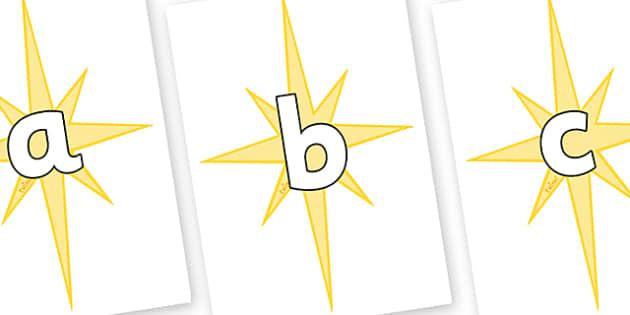 Phoneme Set on Christmas Stars - Phoneme set, phonemes, phoneme, Letters and Sounds, DfES, display, Phase 1, Phase 2, Phase 3, Phase 5, Foundation, Literacy