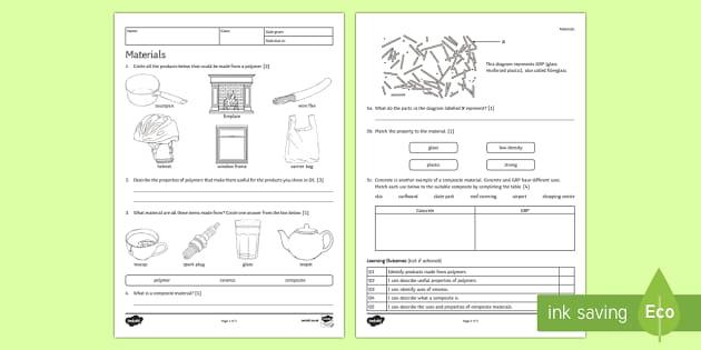 KS3 Materials Homework Activity Sheet - Homework, materials, composite, composites, ceramic, ceramics, polymer, polymers, properties of mate