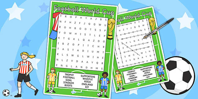 Football World Cup Wordsearch Differentiated - football, sports