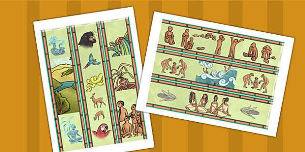 Mayan Civilization Creation Story Display Borders - stories