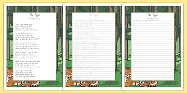 New Zealand The Tyger Poem Handwriting Practice Activity Sheets, william blake, poem, poetry., worksheet