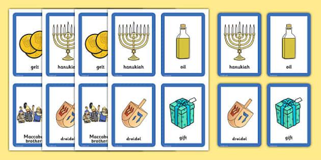 Hanukkah Pairs Matching Game - pair, match, activities, activity