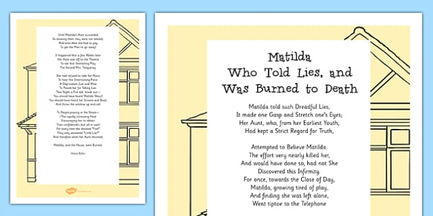 Matilda Who Told Lies and Was Burned to Death Poem Print-Out - poem, print out, poetry, key stage 2 poetry, ks2, matilda who told lies and was burned to death, hilaire, belloc