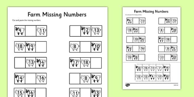 Farm Themed Missing Numbers Worksheet 10-20 - farm, missing numbers, worksheet, 10-20, missing, numbers