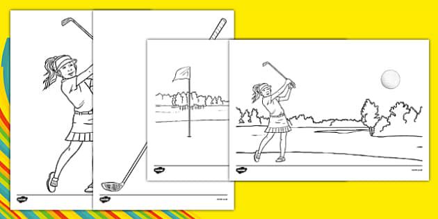 Rio 2016 Olympics Golf Colouring Sheets - rio 2016, 2016 olympics, rio olympics, golf, colouring sheets