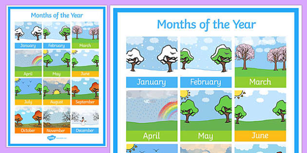 Months of the Year Poster - months, year, poster, display, display poster