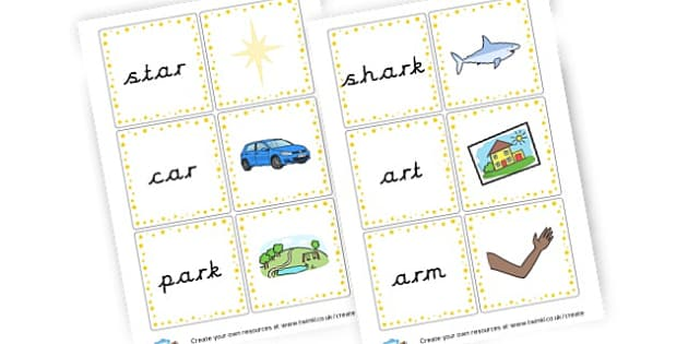 ar Words Cards - Phase 3 Visual Aids Primary Resources, Phase One, Letters, sounds