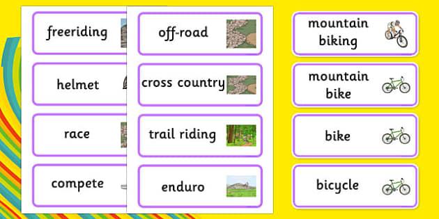 Rio 2016 Olympics Mountain Biking Word Cards - rio 2016, rio olympics, 2016 olympics, mountain biking, word cards