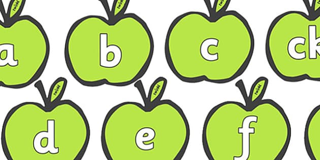 Phase 2 Phonemes on Apples - Phonemes, phoneme, Phase 2, Phase two, Foundation, Literacy, Letters and Sounds, Alphabet, A-Z letters, Alphabet flashcards, letters and sounds, DfES, display, harvest,  harvest festival, fruit, apple, pear, orange, wheat