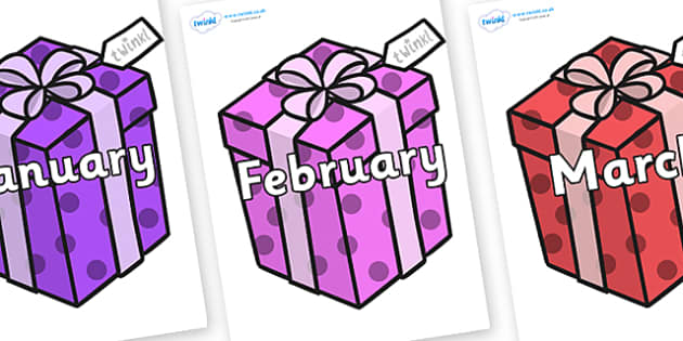 Months of the Year on Christmas Gifts - Months of the Year, Months poster, Months display, display, poster, frieze, Months, month, January, February, March, April, May, June, July, August, September