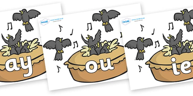 Phase 5 Phonemes on Blackbirds in a Pie - Phonemes, phoneme, Phase 5, Phase five, Foundation, Literacy, Letters and Sounds, DfES, display